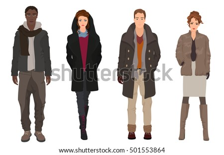 Handsome young guys with beautiful girls models in winter warm casual modern fashion clothes isolated. Black and white People couples