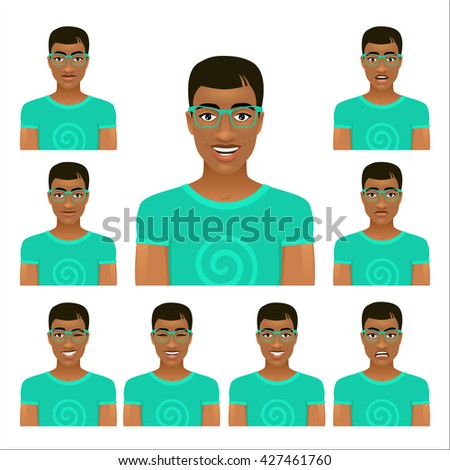Handsome young man face in glasses with nine different facial expressions. Vector cartoon avatar icon set on white background. - stock vector