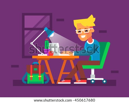 Handsome young man is working on his laptop. The blogger sitting at the table and typing something on notebook. Creative colorful illustration in flat design.