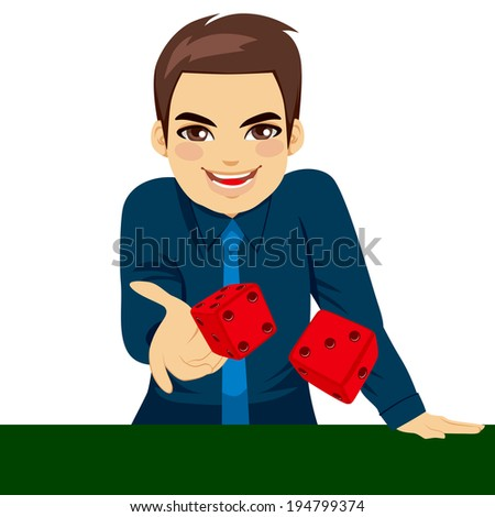 Handsome young man throwing dice gambling playing craps on green table - stock vector