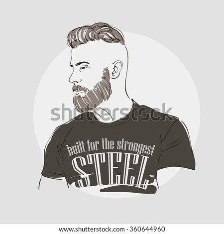 Handsome young man with fashion hipster hairstyle and beard, hand drawn vector illustration. - stock vector