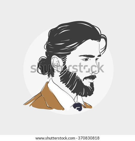 Handsome young man with long hair. Hipster hairstyle topknot . Vector fashion hand drawn illustration. - stock vector