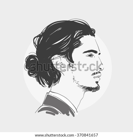 Hairstyle Vector : ... . Hipster hairstyle topknot . Vector fashion hand drawn illustration