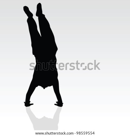 handstand black silhouette art vector on gray background - stock vector