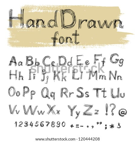 Handwriten by gel pen doodle font for your design - stock vector