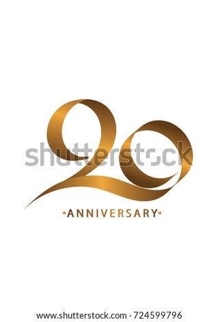 Handwriting Celebrating Anniversary Number 20th Year Stock Vector