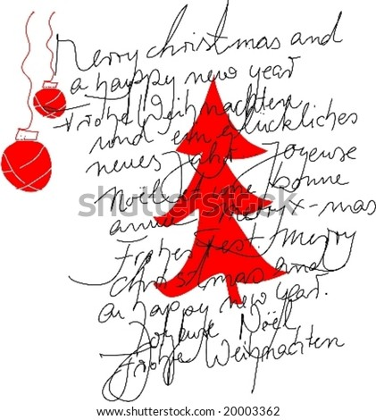 Handwriting in different languages with red christmas tree - stock vector