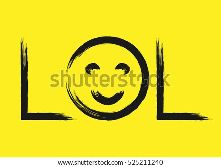 Handwriting Lol Smiley Face Text Written Stock Vector Hd Royalty