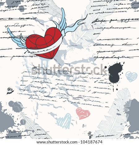 Handwriting. Seamless vector pattern. Love grunge background. - stock vector