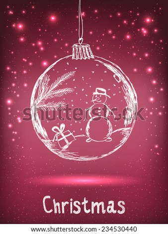 Handwriting Xmas ball with snowman for Merry Christmas celebration on purple background with light, stars. Vector eps illustration - stock vector