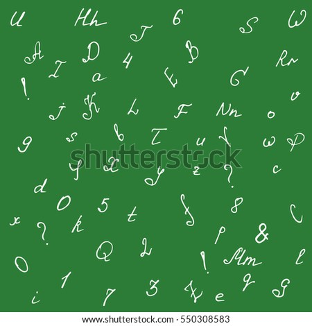 Handwritten alphabet and numbers. Doodle font isolated on blackboard. Vector seamless pattern.