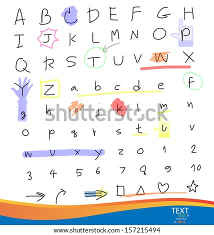 Handwritten alphabet letters and numbers. Vector illustration.