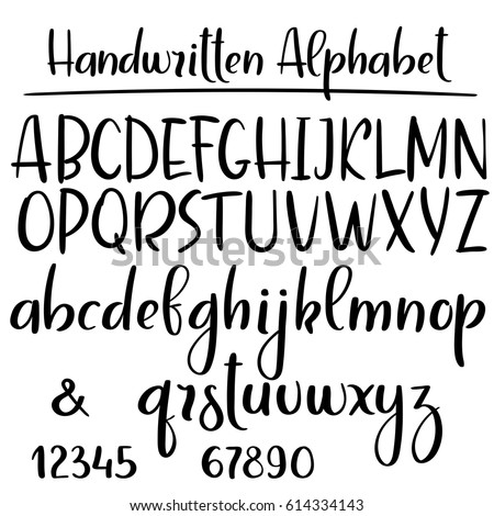 Handwritten Alphabet Modern Calligraphy Brush Font Uppercase Lowercase Vector Letters And Numbers