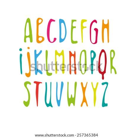 Handwritten alphabet. Roman alphabet - stock vector