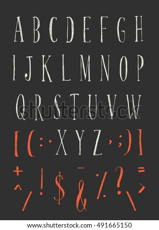 Handwritten alphabet typeset lettering. Calligraphy letters set. Letters and symbols on a black background