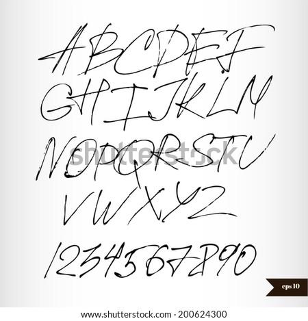 Handwritten black watercolor alphabet and numbers - stock vector