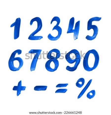 Handwritten blue watercolor alphabet. Numbers and symbols - stock vector