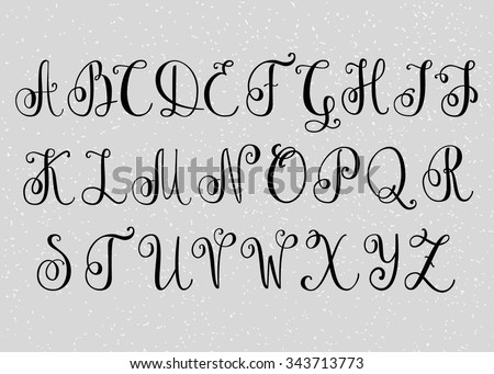 Handwritten Brush Flourish Font Capital Letters Modern Calligraphy Alphabet Isolated Letter Elements