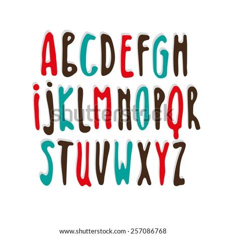 Handwritten calligraphic alphabet. - stock vector