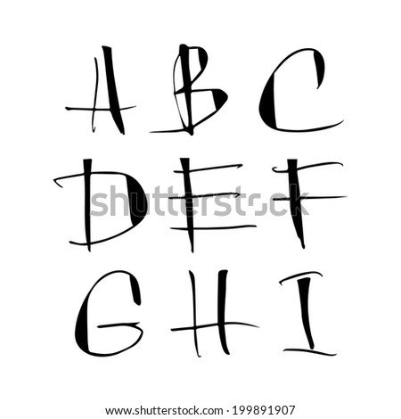 Handwritten calligraphic black alphabet