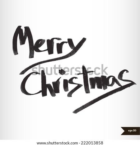 Handwritten calligraphic black watercolor Merry Christmas - stock vector