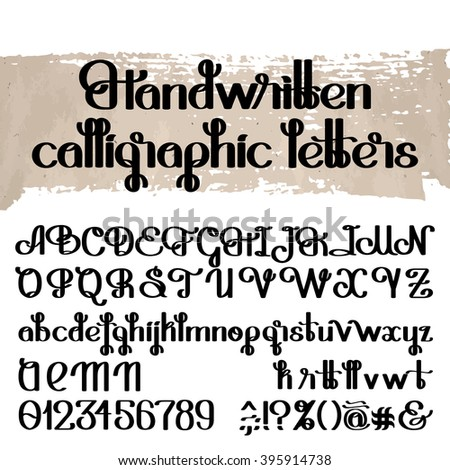Handwritten calligraphic script. Ornate graphic alphabet. Vector font. Uppercase and lowercase letters and numerals isolated on white background