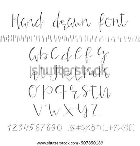 Handwritten calligraphy ink font unique alphabet stock photo photo handwritten calligraphy ink font unique alphabet isolated letters can be used for wedding stopboris Image collections