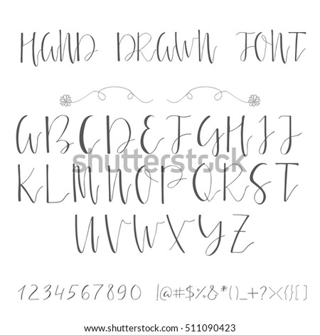 Handwritten Calligraphy Ink Font Unique Alphabet Isolated Letters Can Be Used For Wedding