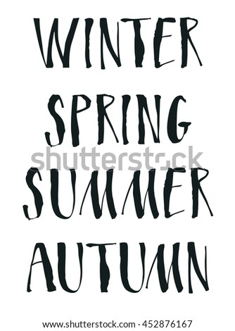 Handwritten calligraphy Seasons Winter Spring Summer Autumn