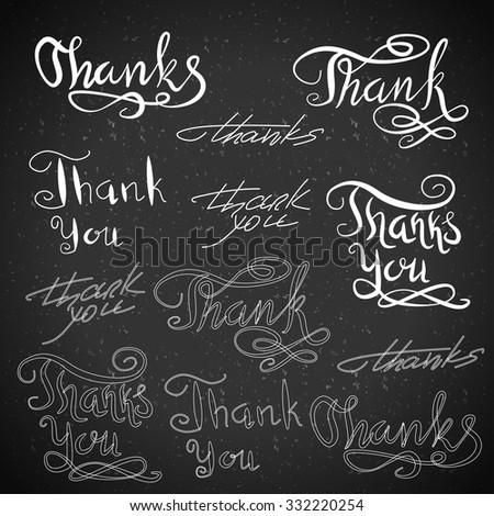 Handwritten calligraphy. Vector set of Thank You. Typography isolated text elements on blackboard.  - stock vector