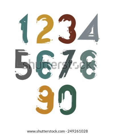 Handwritten contemporary vector digit set, doodle hand-painted numerals. - stock vector