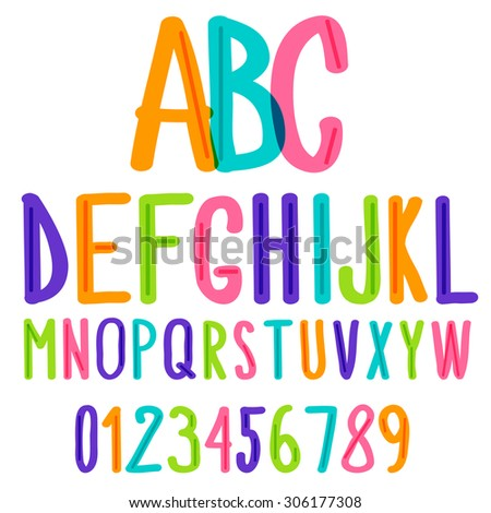 handwritten font,hand drawn colorful kids sketch alphabet and numbers