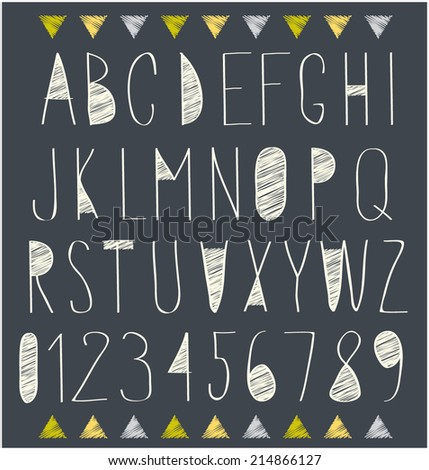 handwritten font, hand drawn sketch alphabet and numbers