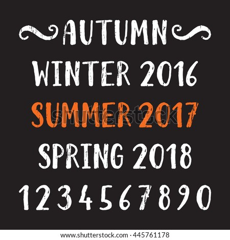 Handwritten grunge lettering of four season Summer, Autumn, Winter, Spring and number. Hand drawn calligraphy lettering for diary, banner, calendar, planner, poster, greeting card. Vector illustration - stock vector