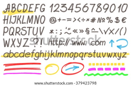 Handwritten highlighter alphabet - letters, numbers and symbols. Optimized for one click color changes. Transparent colors EPS10 vector. - stock vector