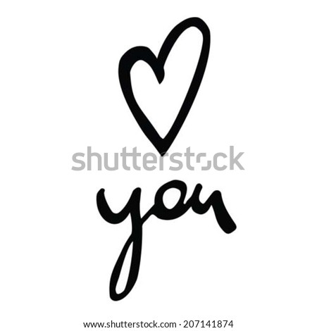 Handwritten love heart you message in watercolor ink vector vectorized - stock vector
