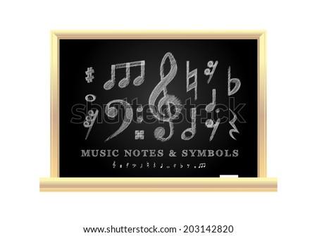 Handwritten musical notes on the school blackboard, vector illustration - stock vector