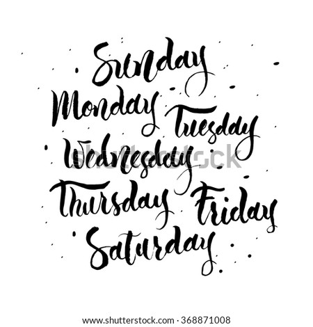 Handwritten names of the days of the Week. Sunday, Monday, Tuesday, Wednesday,  Thursday, Friday, Saturday. Calligraphy words for calendars and organizers. - stock vector