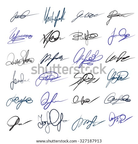 Handwritten personal signatures vector set. Letter and autograph, contract sign, scribble and ink illustration