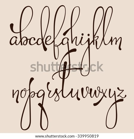 Handwritten Pointed Pen Ink Style Decorative Calligraphy Cursive Font Alphabet Cute Letters