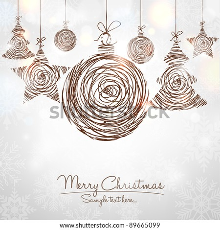 Handwritten Shiny Christmas Ornaments - stock vector
