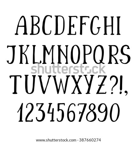 Handwritten simple font, hand drawn sketch alphabet. Isolated capital letters and numbers