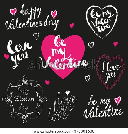 handwritten valentines day greetings set custom texts painted with chalk marker paint
