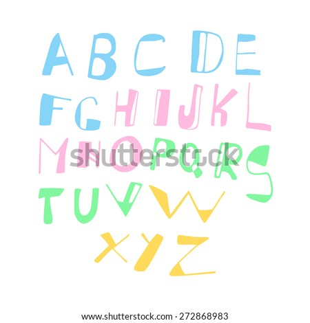 Handwritten vector alphabet made in childish style. Vector collection of hand drawn funny colorful letters.