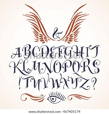 Handwritten vector tattoo alphabet stock vector 467405174 shutterstock thecheapjerseys Images