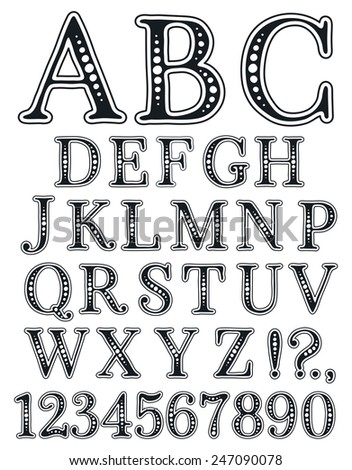 Handwritten vintage alphabet. Retro black and white hand drawn font.  Doodle typographic symbols. - stock vector