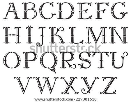 Handwritten vintage alphabet. Vector set of ornate alphabet at retro style - stock vector