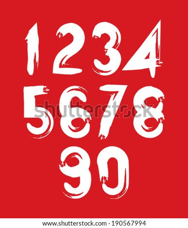 Handwritten white vector numbers on red backdrop, stylish numbers set drawn with ink brush. - stock vector