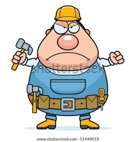 Handyman Angry - stock vector
