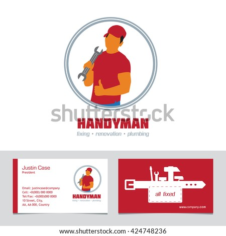 Handyman Business Sign Business Card Template Stock Vector - Handyman business card template